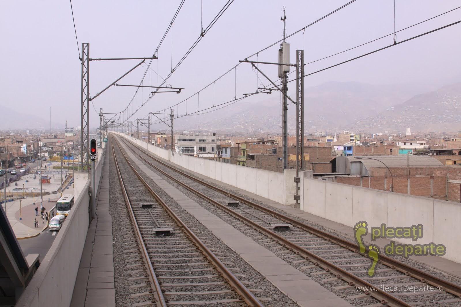 trenul suspendat prin cartierul San Juan de Lurigancho, Lima, Peru