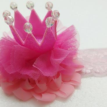 深粉紅色BB皇冠頭帶