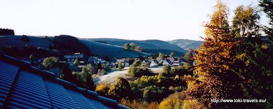 Photo: Oktober 2003. St. Andreasberg. Tannenhof. Uitzicht vanuit onze kamer.