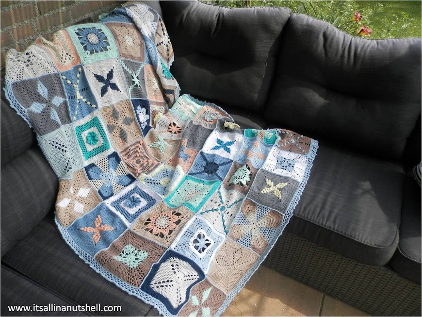 Scheepjes CAL 2014 blanket in blue colors