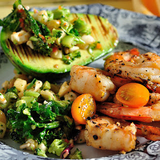 Garlic Grilled Shrimp, Avocado and Super Veggie Detox Salad