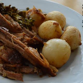 Slow Cooker Pulled Pork and Roasted Vegetables.