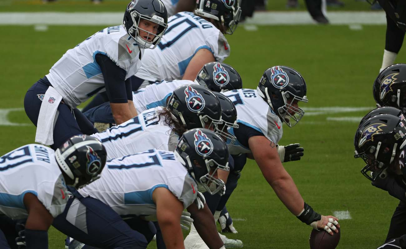 Quarterback Ryan Tannehill of the Tennessee Titans gets ready to receive the ball.