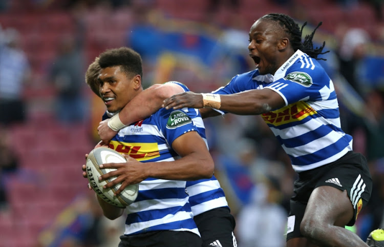 Huw Jones and Seabelo Senatla celebrates with Damian Willemse of Western Province during the Currie Cup match between DHL Western Province and Vodacom Blue Bulls at DHL Newlands Stadium on August 12, 2017 in Cape Town, South Africa.
