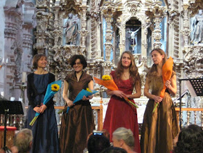 Photo: This quartet from Italy played and sang Medieval music on period strings and recorders in the temple.