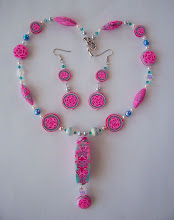 "Photo: PCF- 122 Necklace and earrings set. Polymer Clay Pink Rose cane and special designed beads with crystal and glass beads. The center bead is 2 1/4"" long. Necklace is 21"" long and earrings are 3"" long. $129.00"