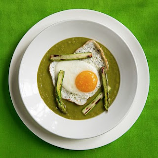 Springtime Asparagus Soup with Fried Eggs
