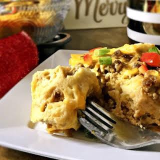 Cheesy Vegetarian Overnight Breakfast Casserole.