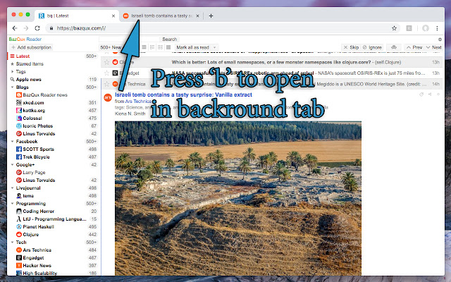 BazQux Reader: open links in background tab
