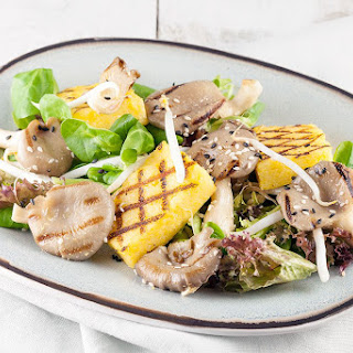Oyster Mushrooms And Polenta Salad.