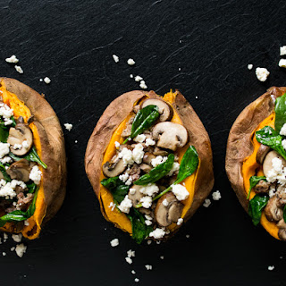 Sausage, Spinach, and Mushroom Stuffed Sweet Potatoes