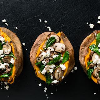 Sausage, Spinach, and Mushroom Stuffed Sweet Potatoes.