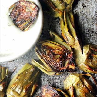 Roasted Baby Artichokes with Lemon Garlic Dipping Sauce.