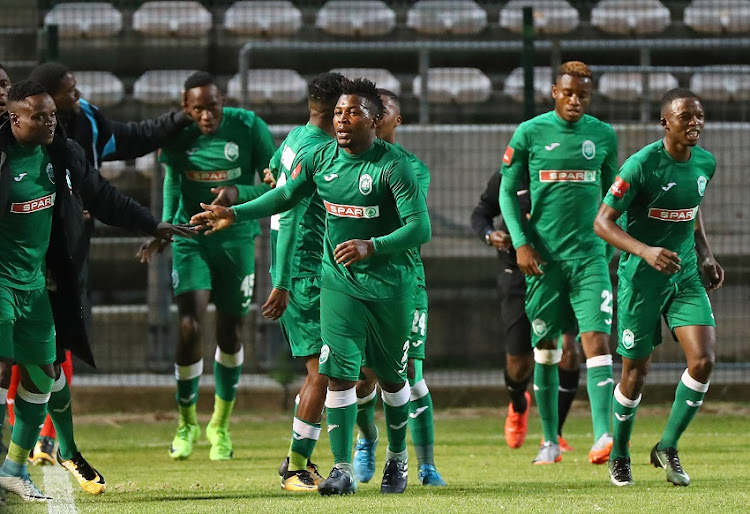 Mabhuti Khenyeza of AmaZulu celebrates goal with teammates during the Absa Premiership 2017/18 football match between Ajax Cape Town and AmaZulu at Athlone Stadium, Cape Town on 25 November 2017.