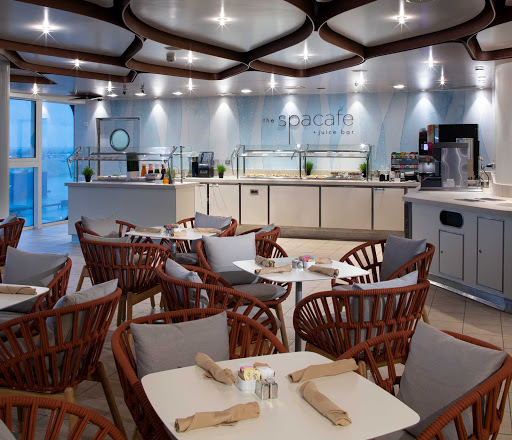 Looking for healthy food options at breakfast or lunch? Check out the Spa Cafe on Celebrity Edge, located near the Solarium.
