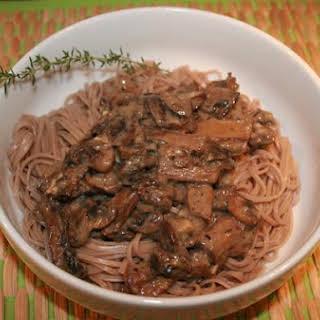 Creamy Mushrooms Over Soba Noodles (Vegan).