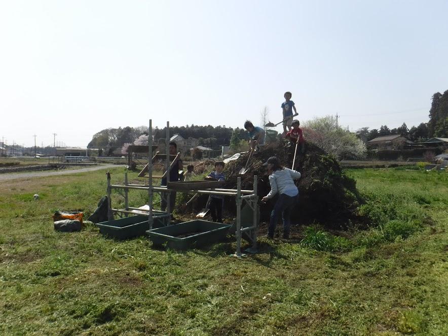 3/31 菜花摘みに来たお客さんを誘って、みんなで堆肥GET30袋!土山で大喜びのこどもたちでした。