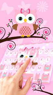 Pink Owl Keyboard Theme - náhled