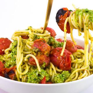 Rach'S Roasted Eggplant and Cherry Tomato Spaghetti with Gremolata-Pesto Recipe