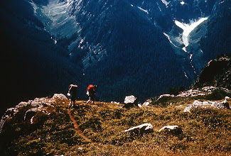 Photo: 12. Hikers descending Copper Mountain Ridge, North Cascades Primitive Area.