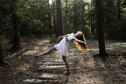 Dancer in the woods by Christine Bottomly - People Fine Art ( pose, red, nature, beauty, dance )