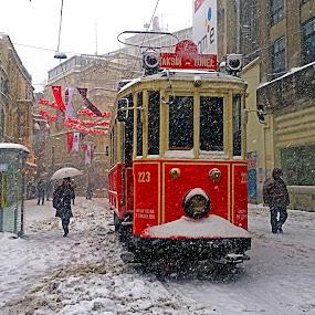 SNOW STORM by Nihan Bayındır - Uncategorized All Uncategorized ( colors, street, snow, train, view, landscape,  )