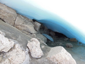 Photo: Small ice cave under the Furtwangler Glacier: no evidence for  iceflow or sediment transport!