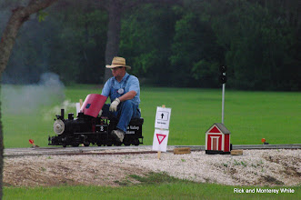 Photo: James Hitzfelder on Ken Rhodes 2 Spot 0-4-0 at Black's Crossing.  HALS-SLWS 2009-0523
