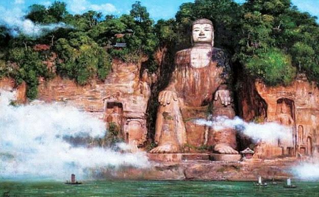 Bức tượng đá Lạc Sơn Đại Phật ở Tứ Xuyên, Trung Quốc.