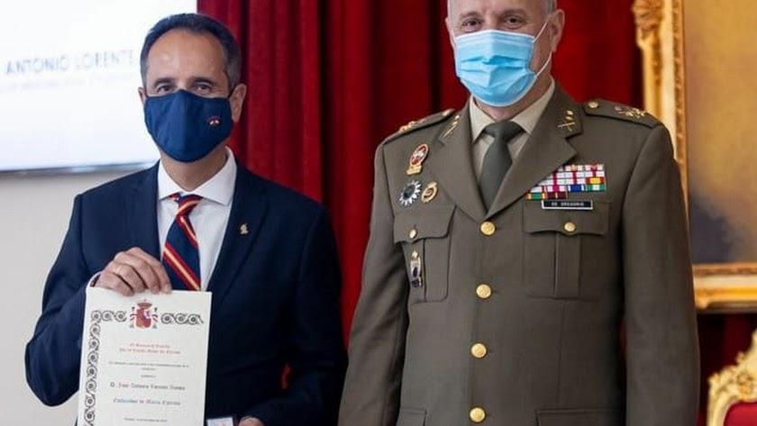 Lorente durante el reconocimiento como embajador de la \'Marca Ejército\'.