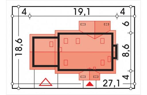 Aston 2 wersja D z podwójnym gar. i ścianką kolankową - Sytuacja