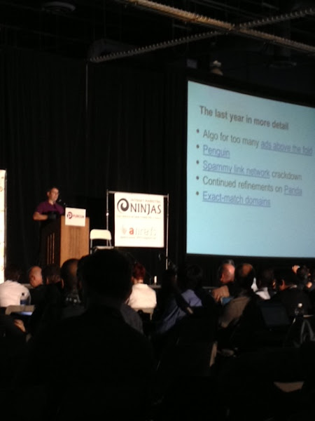 Photo: Matt Cutts presenting Google's new disavow tool at Pubcon