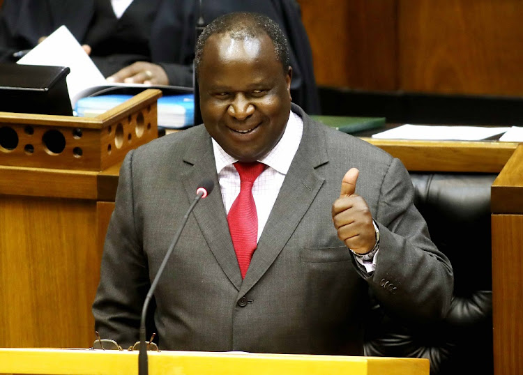 Finance minister Tito Mboweni gives a thumbs up during his medium-term budget policy statement at parliament in Cape Town, October 24 2018. Picture: ESA ALEXANDER