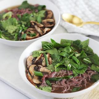 Mushroom & Bok Choy Ramen Bowl with Ginger Mushroom Broth Recipe