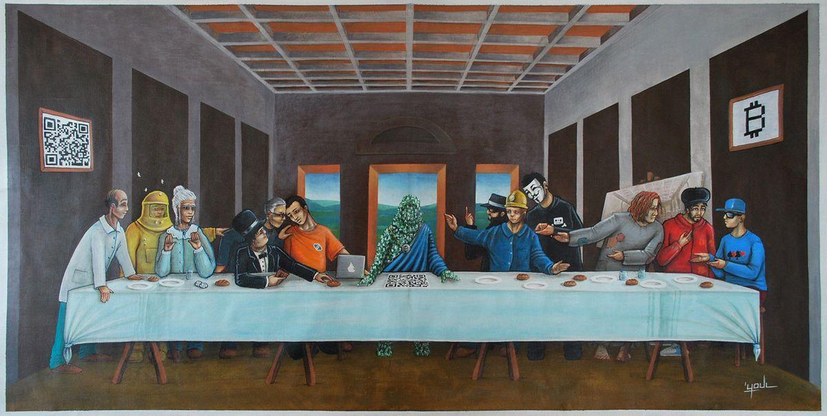 "The Last Bitcoin Supper: French artist, Youl, the depiction of Leonardo Da Vinci's ""Last Supper"" art using a Bitcoin theme"
