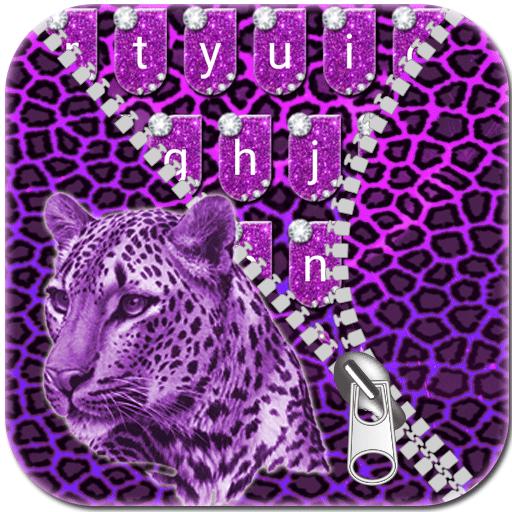 Keyboard - Purple Cheetah Glitter Free Emoji Theme (app)