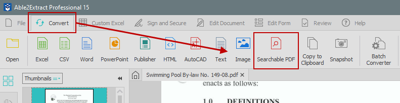 Convert to searchable PDF functionality