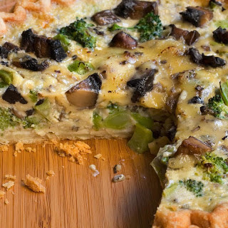 Broccoli, Mushroom, and Gouda Quiche