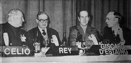 """Photo: DAVOS/SWITZERLAND, JAN 1975 - (fltr) Nello Celio, Jean Rey, Olivier Giscard d'Estaing, Klaus Schwab captured during the European Management Symposium, the predecessor of the World Economic Forum in Davos in 1975. Copyright <a href=""""http://www.weforum.org"""">World Economic Forum</a> (<a href=""""http://www.weforum.org"""">http://www.weforum.org</a>)"""