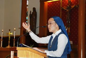 Photo: Sr. Kim cantors the responsorial psalm