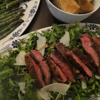 STEAK ON ARUGULA WITH PARMESAN AND BALSAMIC