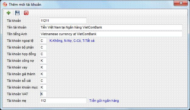 Danh mục tài khoản phần mềm kế toán 3tsoft
