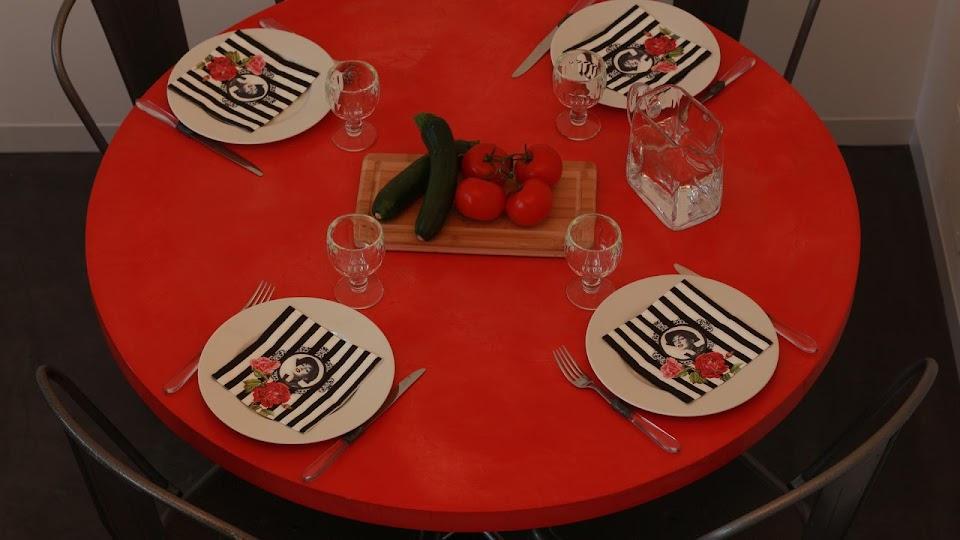 Plateau de table de salle à manger réalisé sur-mesure en béton ciré décoratif