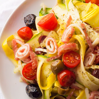 Spring Zucchini Noodle Salad with Salami, Provolone and Olives