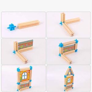 Set cuburi constructie din lemn 128 piese, Micul Arhitect