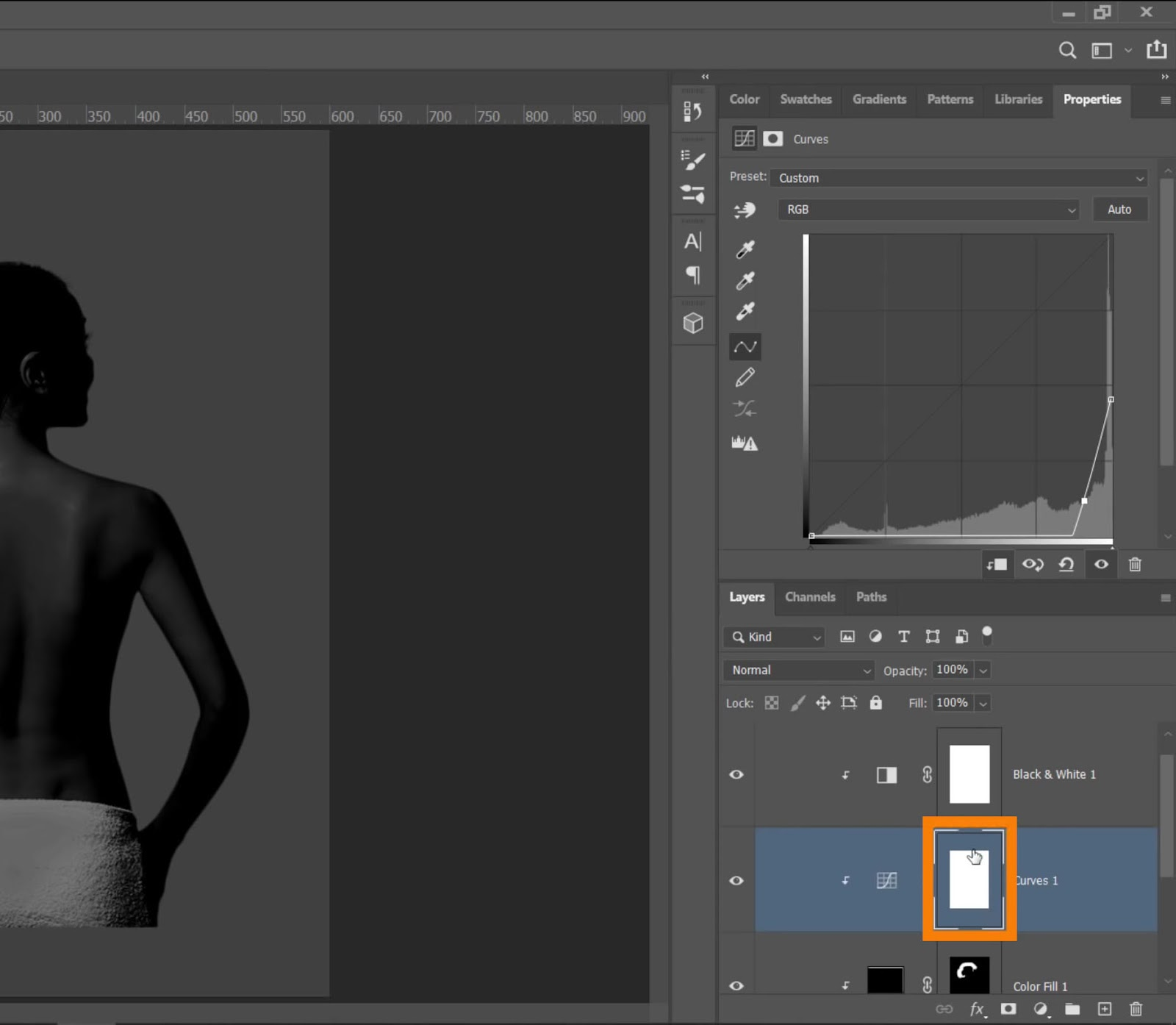 select the Curves adjustment layer mask