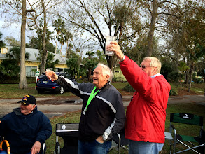 Photo: Toasting the new rig of Dean Hunter and John Salong, who had set up a Wine and Cheese Party for the Chapter