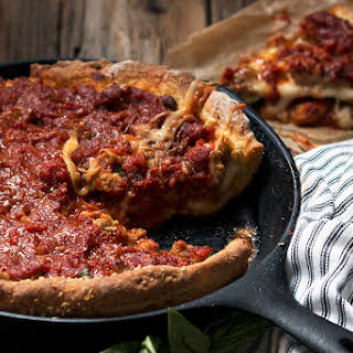 Cast Iron Skillet Deep Dish Pizza.