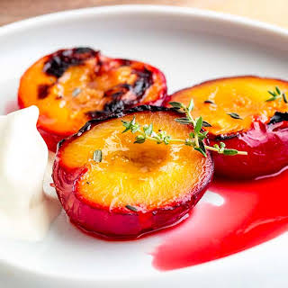 Roasted Plums with Thyme and Brown Sugar.