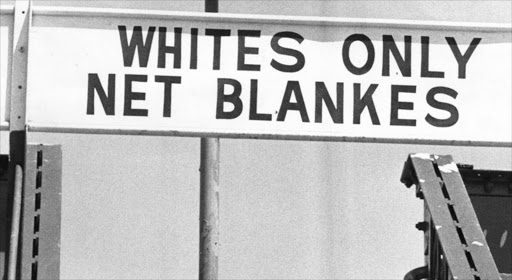 "FILE PICTURE: Sign on the Doornfontein Bridge with "" Whites Only, Net blankes "" Picture Credit: Mike Mzileni 14/02/1982. © Sunday Express/Times Media"